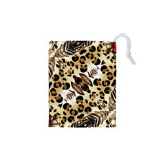 Background Fabric Animal Motifs And Flowers Drawstring Pouches (xs)