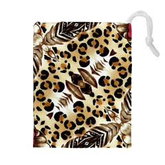 Background Fabric Animal Motifs And Flowers Drawstring Pouches (extra Large)