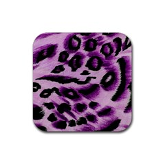 Background Fabric Animal Motifs Lilac Rubber Square Coaster (4 pack)