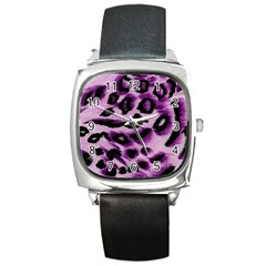 Background Fabric Animal Motifs Lilac Square Metal Watch