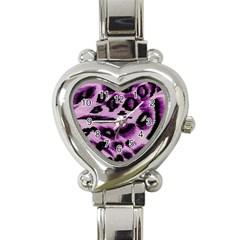 Background Fabric Animal Motifs Lilac Heart Italian Charm Watch