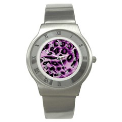 Background Fabric Animal Motifs Lilac Stainless Steel Watch