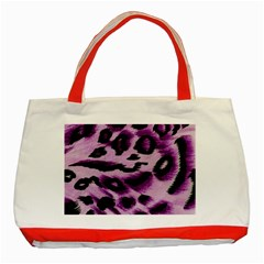Background Fabric Animal Motifs Lilac Classic Tote Bag (red)