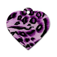 Background Fabric Animal Motifs Lilac Dog Tag Heart (two Sides)