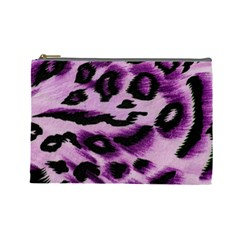 Background Fabric Animal Motifs Lilac Cosmetic Bag (Large)