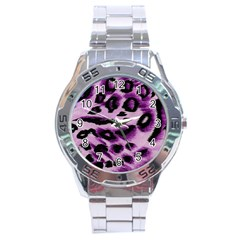 Background Fabric Animal Motifs Lilac Stainless Steel Analogue Watch