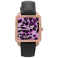 Background Fabric Animal Motifs Lilac Rose Gold Leather Watch