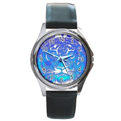 Background Fabric With Tiger Head Pattern Round Metal Watch