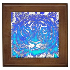 Background Fabric With Tiger Head Pattern Framed Tiles
