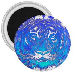 Background Fabric With Tiger Head Pattern 3  Magnets