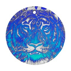 Background Fabric With Tiger Head Pattern Ornament (round)