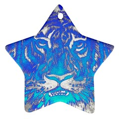 Background Fabric With Tiger Head Pattern Ornament (Star)
