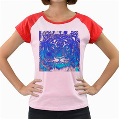Background Fabric With Tiger Head Pattern Women s Cap Sleeve T Shirt