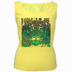 Background Fabric With Tiger Head Pattern Women s Yellow Tank Top