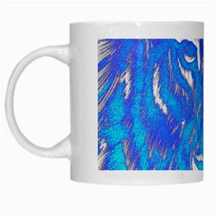 Background Fabric With Tiger Head Pattern White Mugs