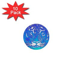 Background Fabric With Tiger Head Pattern 1  Mini Buttons (10 Pack)