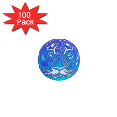 Background Fabric With Tiger Head Pattern 1  Mini Magnets (100 Pack)