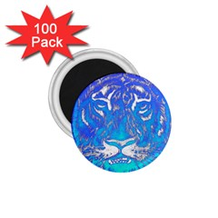 Background Fabric With Tiger Head Pattern 1.75  Magnets (100 pack)