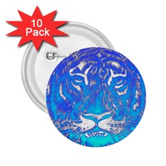 Background Fabric With Tiger Head Pattern 2 25  Buttons (10 Pack)