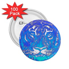 Background Fabric With Tiger Head Pattern 2.25  Buttons (100 pack)