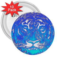 Background Fabric With Tiger Head Pattern 3  Buttons (10 Pack)