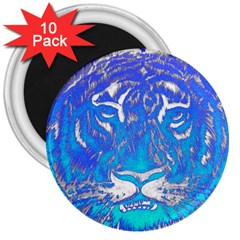 Background Fabric With Tiger Head Pattern 3  Magnets (10 Pack)
