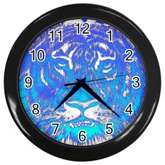 Background Fabric With Tiger Head Pattern Wall Clocks (black)