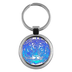 Background Fabric With Tiger Head Pattern Key Chains (Round)