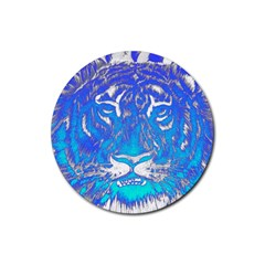 Background Fabric With Tiger Head Pattern Rubber Coaster (round)
