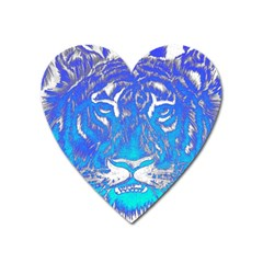 Background Fabric With Tiger Head Pattern Heart Magnet