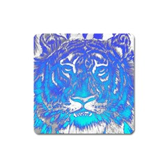 Background Fabric With Tiger Head Pattern Square Magnet