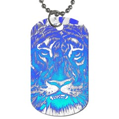 Background Fabric With Tiger Head Pattern Dog Tag (one Side)