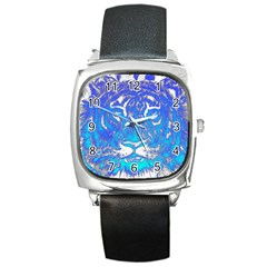 Background Fabric With Tiger Head Pattern Square Metal Watch