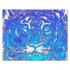 Background Fabric With Tiger Head Pattern Rectangular Jigsaw Puzzl