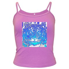 Background Fabric With Tiger Head Pattern Dark Spaghetti Tank