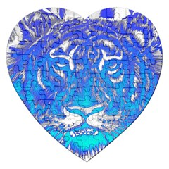 Background Fabric With Tiger Head Pattern Jigsaw Puzzle (Heart)
