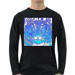 Background Fabric With Tiger Head Pattern Long Sleeve Dark T Shirts