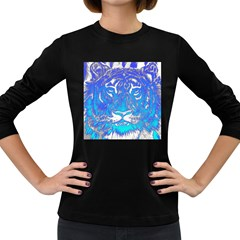 Background Fabric With Tiger Head Pattern Women s Long Sleeve Dark T Shirts