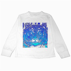 Background Fabric With Tiger Head Pattern Kids Long Sleeve T Shirts
