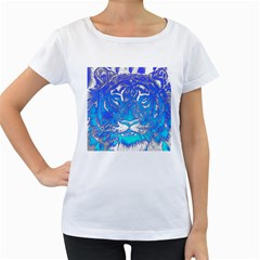 Background Fabric With Tiger Head Pattern Women s Loose Fit T Shirt (white)