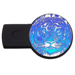 Background Fabric With Tiger Head Pattern Usb Flash Drive Round (4 Gb)
