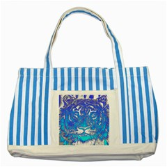 Background Fabric With Tiger Head Pattern Striped Blue Tote Bag