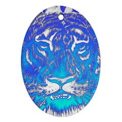 Background Fabric With Tiger Head Pattern Oval Ornament (two Sides)