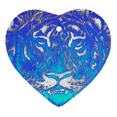 Background Fabric With Tiger Head Pattern Heart Ornament (two Sides)