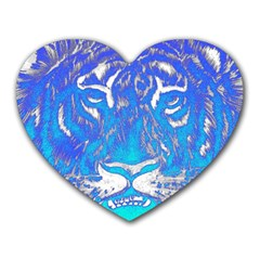 Background Fabric With Tiger Head Pattern Heart Mousepads