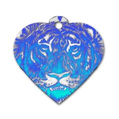 Background Fabric With Tiger Head Pattern Dog Tag Heart (two Sides)