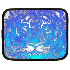 Background Fabric With Tiger Head Pattern Netbook Case (large)