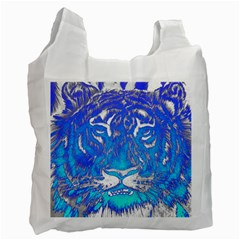 Background Fabric With Tiger Head Pattern Recycle Bag (one Side)