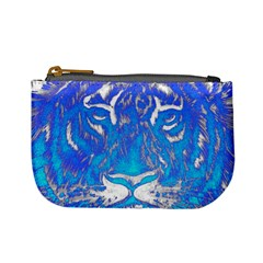 Background Fabric With Tiger Head Pattern Mini Coin Purses