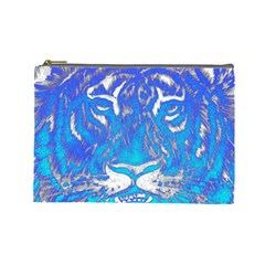 Background Fabric With Tiger Head Pattern Cosmetic Bag (large)